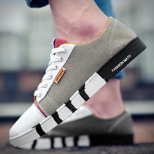 Image 4 - זאב מי אופנה גברים ג ינס בד נעלי זכר דירות נעליים יומיומיות אופנתי איש סניקרס תחרה עד נעלי תלמיד Zapatos Hombre X 059