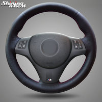 Shining wheat Hand stitched Black Artificial Leather Car Steering Wheel Cover for BMW M3 2009 2013 E92