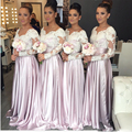 Light Pink Bridesmaid dresses Long Full long sleeve A line Elegant Wedding party dress Cheap Ladies Formal gowns Sexy Lace hu
