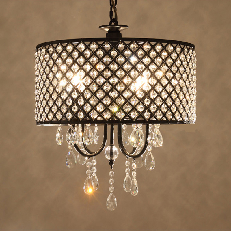 E12/E14 Modern Crystal Pendant Light 4 Lights Black Round Metal Lampshade Hanging Lamp Lighting For Bedroom Living Room PL498 modern crystal lamp round shape led pendant light for bedroom living room lighting