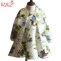 R & z 2017 جديد الخريف بنات كم طويل معطف + اللباس 2 قطع أزياء ماركة زهرة سترة سترة اللباس بوتيك الاطفال الملابس الملابس