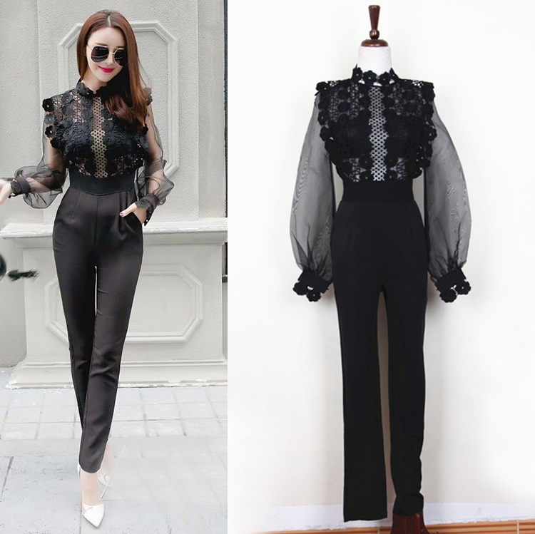 Sexy Women's Lace Patchwork Black Jumpsuit, Semi-transparent Mesh Patchwork Lace Long Pants Jumpsuit