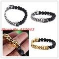 New Arrival Black Beads Skull Bracelet For Women Mens Lava Stone Beads Men's Silver Cuban Curb Chain Bracelets Pulseras Jewelry