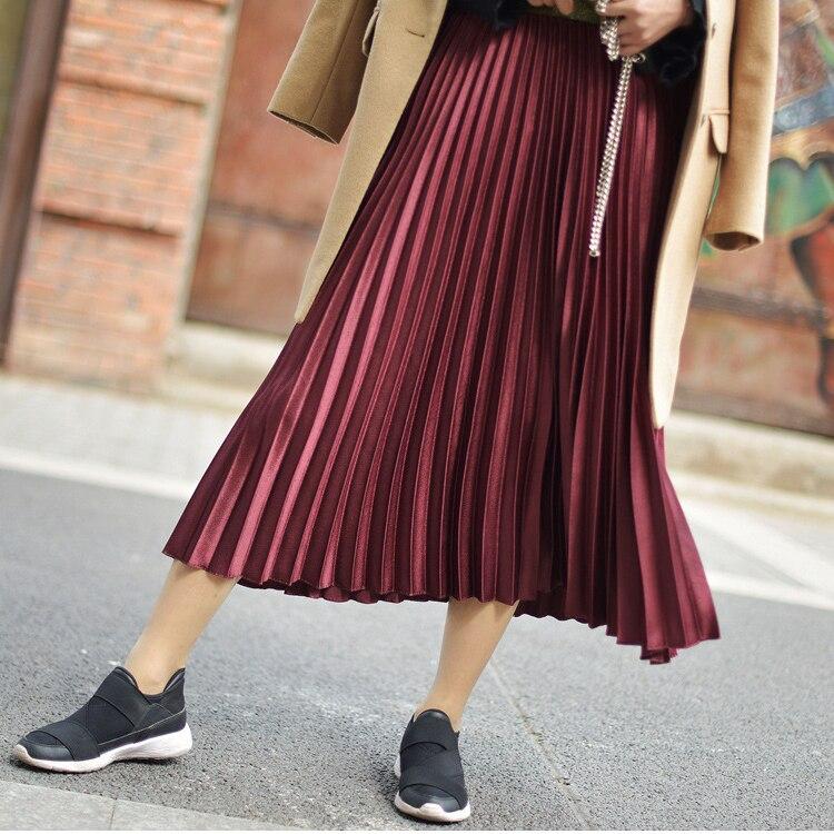 Stretch High Waist Long Pleated Skirt 10