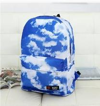 Chaud-vente bleu ciel blanc nuages loisirs graffiti sac à dos vent han édition collège étudiants sac d'école