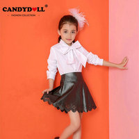 Candydoll Children Girls Skirts Kids Clothing Baby Girls PU Leather Skirts Casual Short Pleated Hollow Skirts