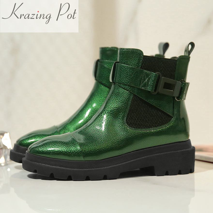 Krazing Pot new arrival solid microfiber round toe Buckle fashion winter boots superstar warm thick heel women ankle boots L01