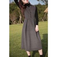 Винтажное темно серое шерстяное платье без рукавов