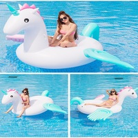 Giant thickened hot style inflatable colour horse mount floating mat water toy sandbeach inflatable Water floating bed