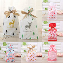 Wedding Decor Birthday Party Supplies Drawstring Bags Plastic Gift Package Cookie Snack Candy Bag Ribbons Food Biscuits Pouch(China)