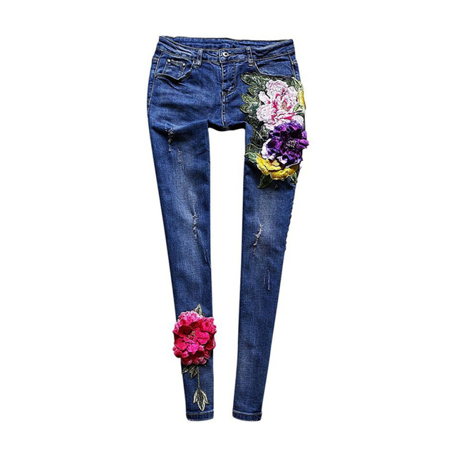 Novelty Jeans New 2017 Spring Summer Fashion Women High Street Luxury Flowers Embroidery Black / Blue Slim Long Pencil Pants