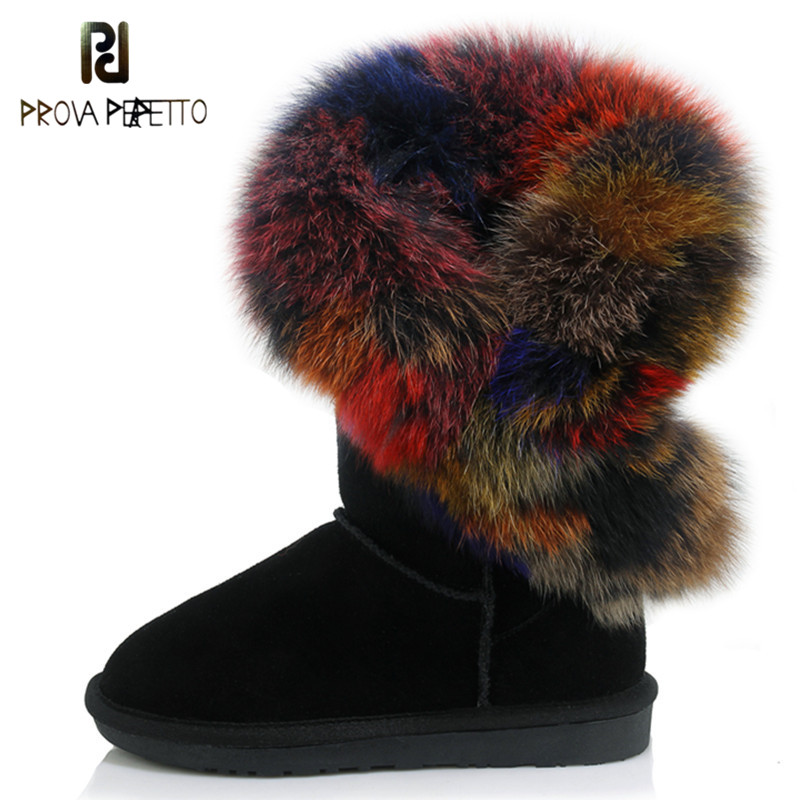 Prova Perfetto Fashion Big Natural Fox Fur Snow Boots Real Cow Leather High Snow Boots For Women Winter Long Boots Fur Tassels inoe fashion big fox fur real cow split leather high winter snow boots for women winter shoes tall boots waterproof high quality
