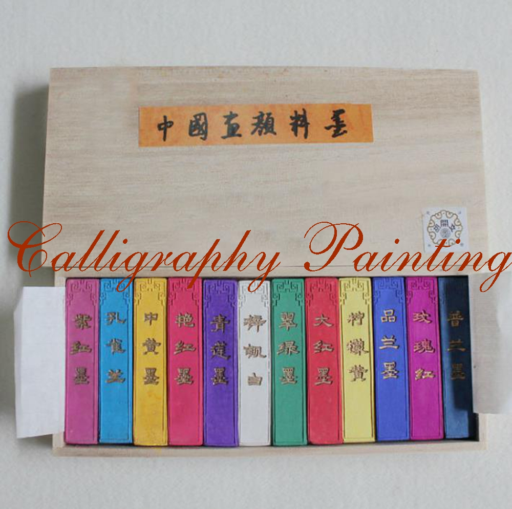 12pcs Chinese Painting calligraphy Ink Stick HuiMo 12 Color Pigment Inkstick set цена