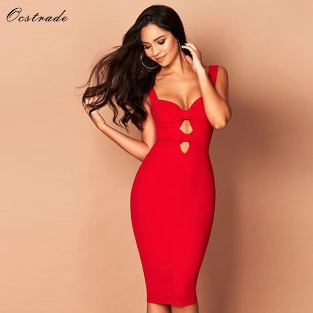Ocstrade Womens Runway Dresses Summer 2018 New Fashion Bandage Party  Dresses Sexy Black Bandage Dress Bodycon Red Blue 2bbe55be0389