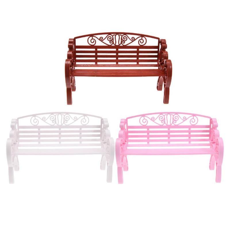 Garden Chair Doll House Outdoor Park Bench Chair Play House Toys Miniature Furniture Accessories Girls Doll Accessory For Kids