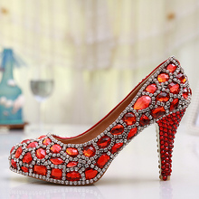 2016 Handmade Luxury Cinderella Shoes Platforms Wedding Pumps Glitter Red Crystal Gems Bridal Shoes Rhinestone