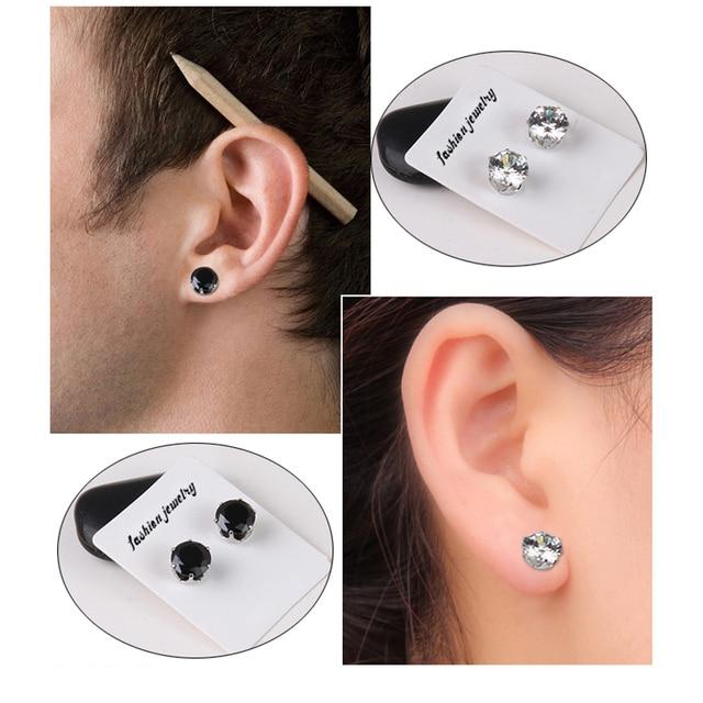 25c7786352a 1 Pair Fashion Crystal White Black Rhinestone Magnet Stud Earring for Women  Men Earrings No Ear Hole Ear Jewelry 8mm 6mm