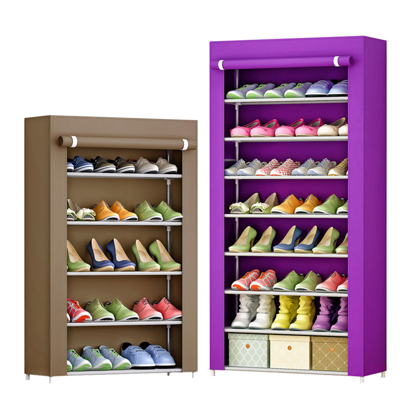 Multilayer Shoe cabinet Non-woven fabrics large shoe rack organizer removable shoe storage living room furniture Shelves non woven fabrics hanging type 18 cd dvd card holder beige