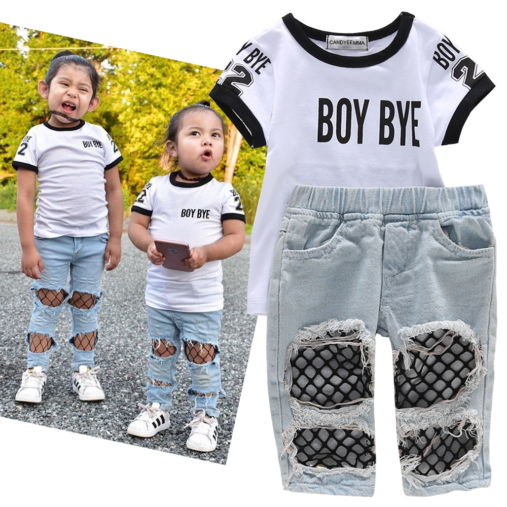 0 5T Summer Fall Kids Fashion Girls 2019 Toddler Outfits Letter Printed T shirt Net Hole Jeans Children Clothing Sets Streetwear in Clothing Sets from Mother Kids
