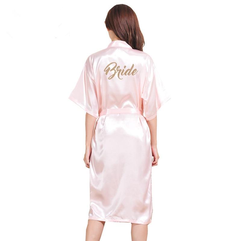 Pajamas Women Bride Robe Half Sleeve Spring Summer Long Bath Robe Sexy Satin Sleepwear Home Clothing Thin Silk Bridesmaid Robes