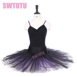 Бесплатная доставка Черный Фиолетовый половина балетная пачка для девочек балетные костюмы BT8923