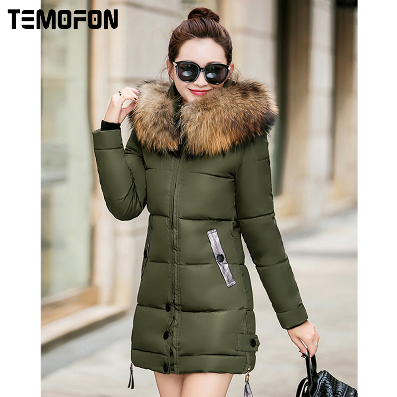 TEMOFON Hot Sale Solid Women Casual Slim Coats Parka New Fashion Hooded Women Jackets Winter Warm Parka Jacket Outwear DJT574