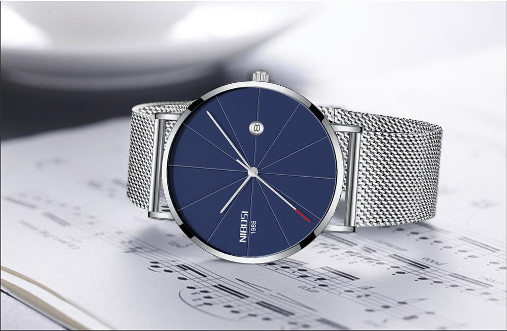 NIBOSI watch men black quartz wristwatches stainless steel mesh brand  watches men ultra thin quartz relogio masculino dourado (9)