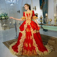 2018 Red Square Collar Yellow Ruffles Long Princess Dress Medieval European Court Rococo Baroque Dress Ball Gowns Costume