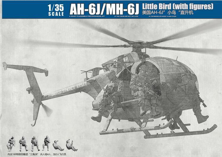 1 35 Scale Kitty Hawk KH50004 AH 6J MH 6J Little Bird With Figures Plastic Model