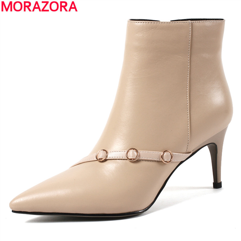 MORAZORA Large size 34-43 New fashion ankle boots for women pointed high heels autumn winter genuine leather boots female shoes morazora 2018 new genuine leather ankle boots for women high heels wedges boots female platform spring autumn boots women shoes
