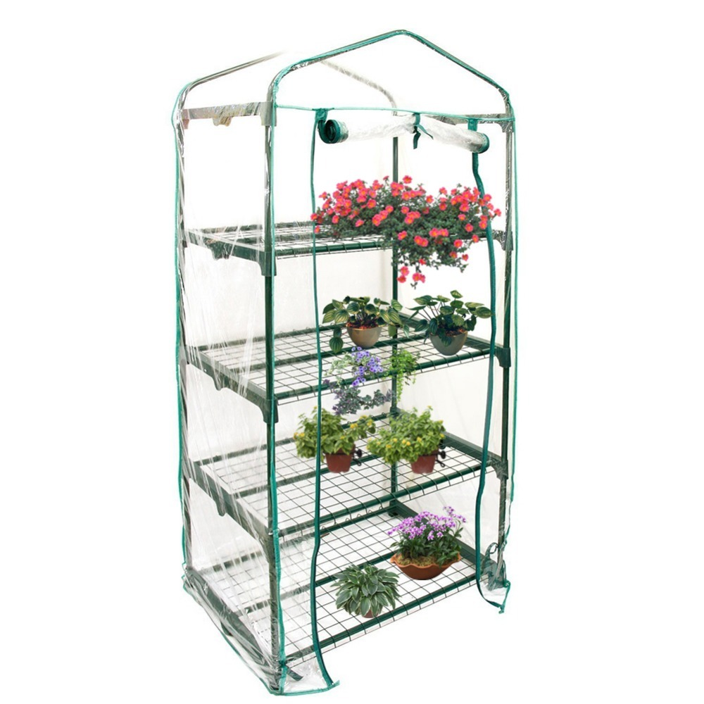 PVC Warm Garden Tier Mini Household Plant Greenhouse Cover Homes Garden Decoration Protect Plants Flowers without Iron Stand