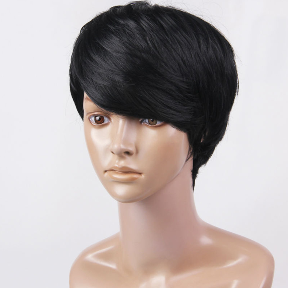 ELEMENT Sytnethic Blend Doğal Saç Peruk Peri Kesim Kısa Peruk - Sentetik Saç - Fotoğraf 5