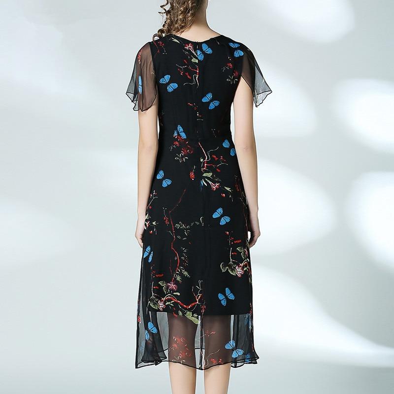 100 2017 Courtes Manches Élégant Genou Femmes Papillon D'été Vintage À Imprimé Floral longueur Soie Mince Dress qqrUFg