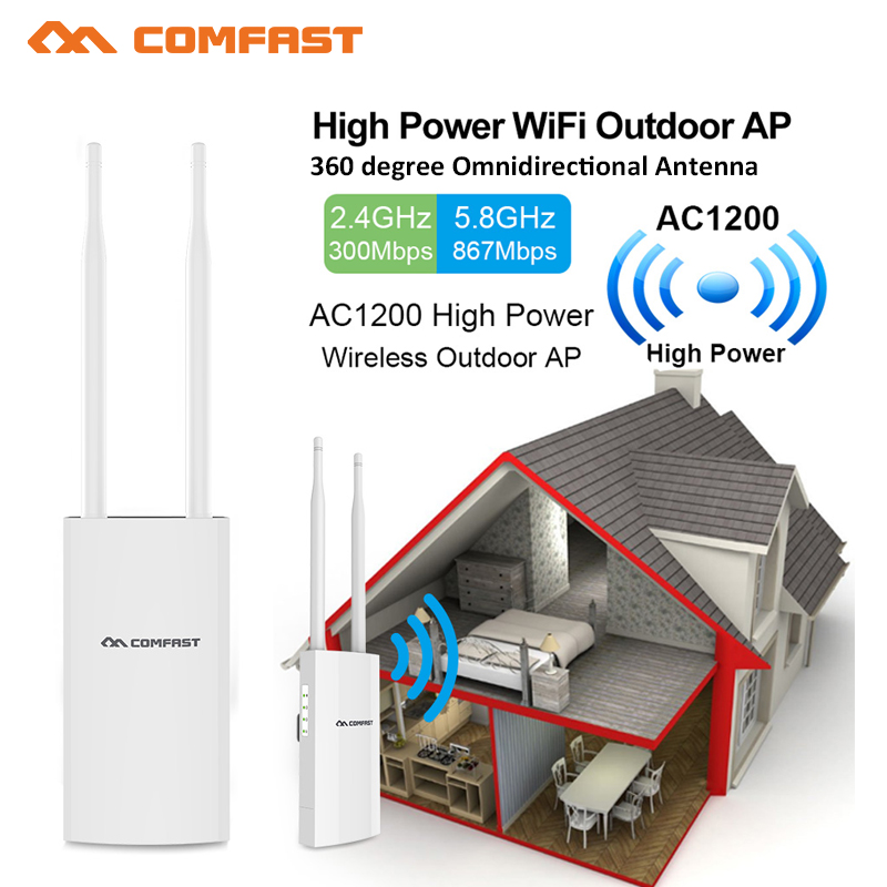 Comfast AC1200 27dBm Wifi Extender High Power Outdoor Wifi Repeater 2G 300Mbps +5GHz 867Mbps Wireless Wifi Router Base Station image