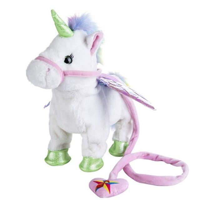 1pc Electronic Walking Singing Unicorn Plush Toy Leash Robot Animal Horses Dolls Children Baby Birthday Christmas Gift Toy