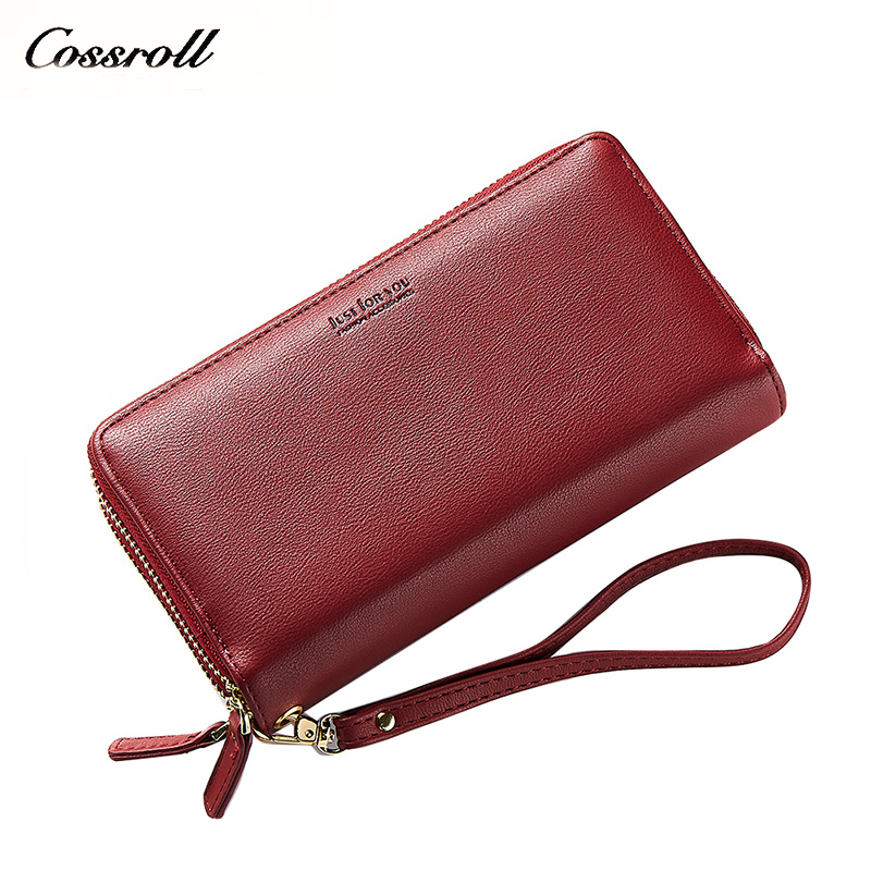 cossroll Wristband Women Long Clutch Wallet Large Capacity Wallets Female Purse Lady Purses Phone Pocket Card Holder Carteras cossroll flower embossing women wallets and purses trifold hasp wallet female long design clutch women s purse monedero mujer