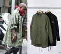 KMO corea venta caliente de japón de los hombres de la chaqueta rompevientos abrigo kanye west Negro/Verde largo trench estilo militar europeo hombres de la capa