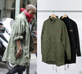 KMO korean hot sale men's japan jacket overcoat windbreaker kanye west Black/Green long military style european trench coat men