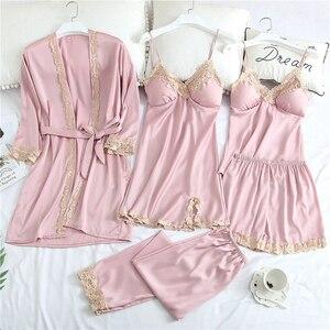 Image 3 - Sexy vrouwen Robe & Gown Sets Herfst Winter 4 & 5 Stuk Pyjama Sets Nachtkleding Womens Slaap Set Faux zijden Gewaad Femme Lingerie