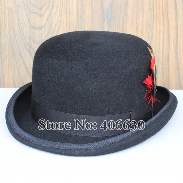 db7e99ef379b2 US $47.3  Dress Mens Black Wool Magic Top Hats With Feather Chapeu  Masculino Performing Hats Free Shipping PWFR115-in Fedoras from Apparel  Accessories ...