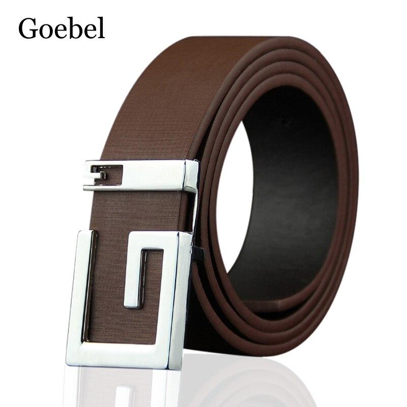 Mens belt leather belt smooth buckle