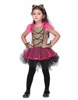 Enfants fille violet Léopard conception cosplay costume halloween party enfants animaux Empreinte imprimer tutu robe avec Coiffe gants