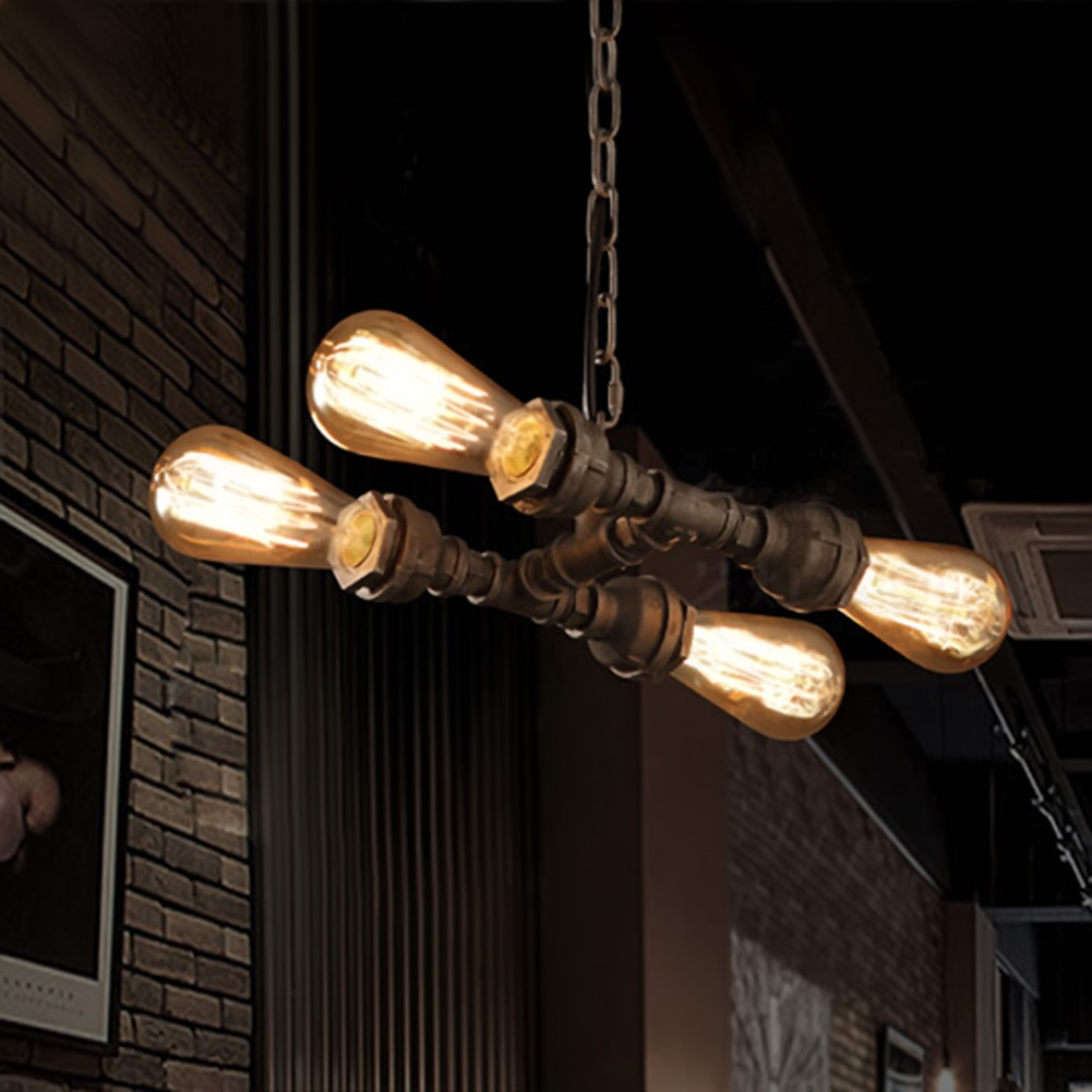 Loft industrial Iron water Pipe steam punk Vintage pendant lamp cord E27 led lights for personalized bar restaurant cafe