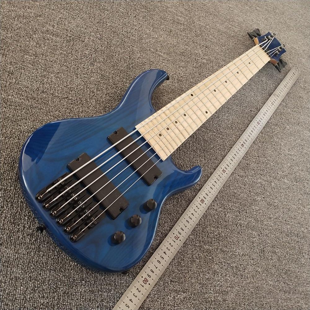 En stock 2019 nouvelle guitare basse ukelele Mini 6 cordes, haut et dos bleu clair, touche érable, livraison gratuite