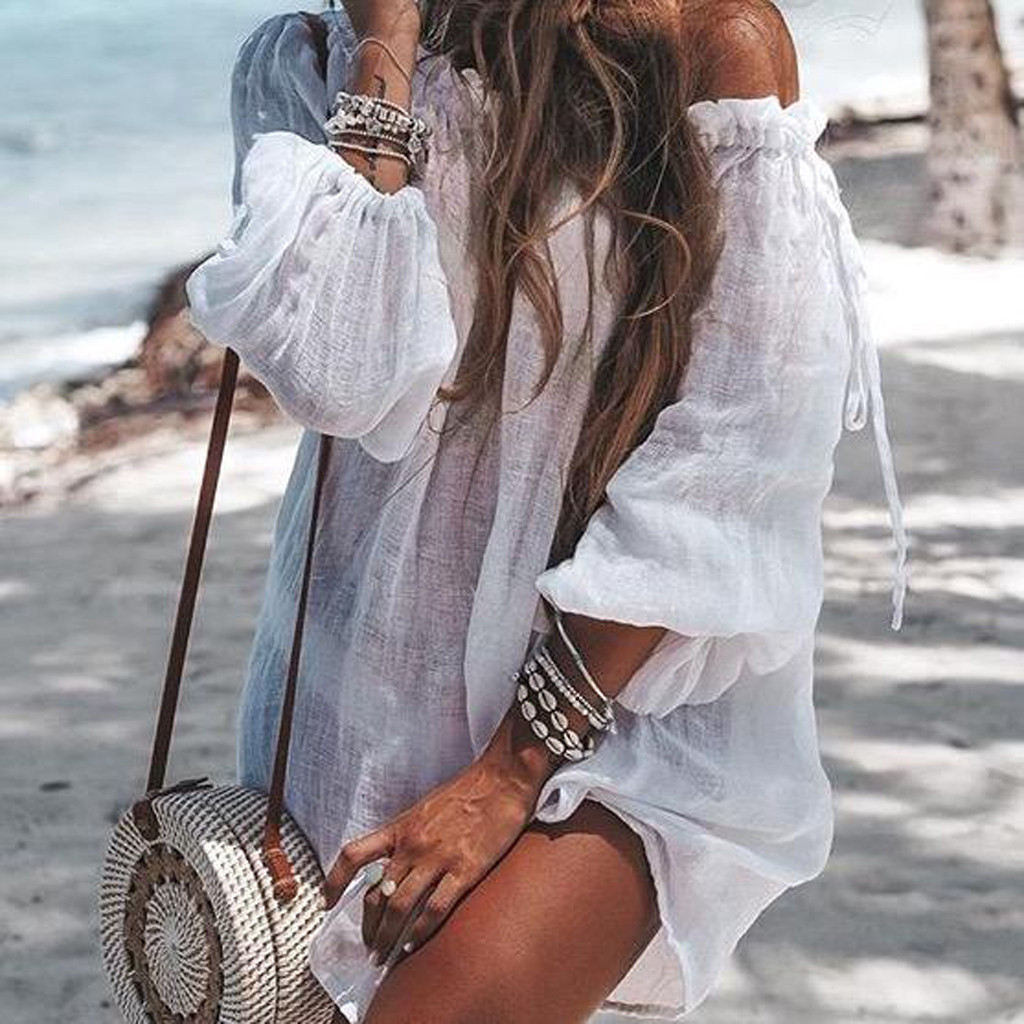 Sexy Summer Casual Solid Beach Dress Women Bikini Cover Up Swimwear Kaftan Beach Wear Off Shoulder Blouse Pareo Saida De Praia
