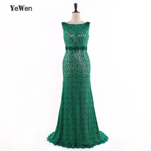 YeWen Full Lace Mermaid Evening Dresses 2019 Prom Dress