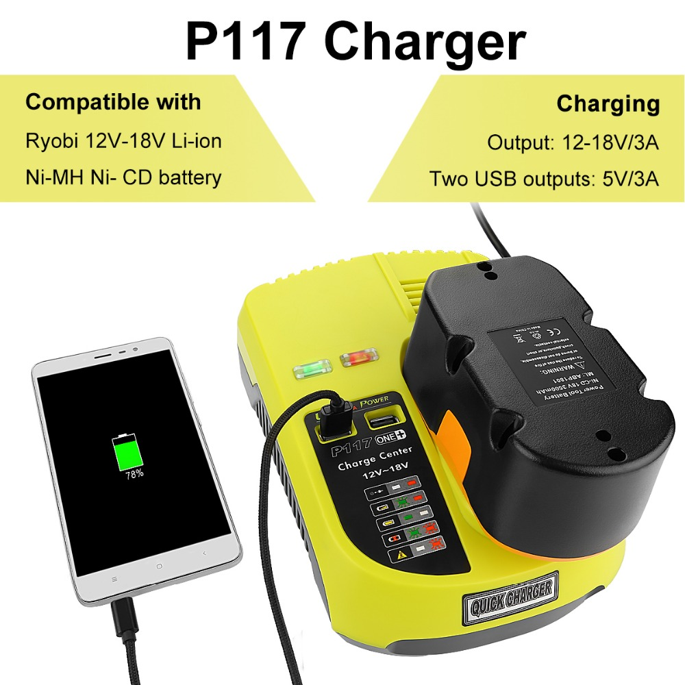 Newest P117 Replacement Charger for Ryobi Ni-Cad Ni-Mh Li-ion 12V 14.4V 18V Battery US/EU Plug for phone charging original inmotion v8 charger for 84v li on battery vehicle us plug eu plug