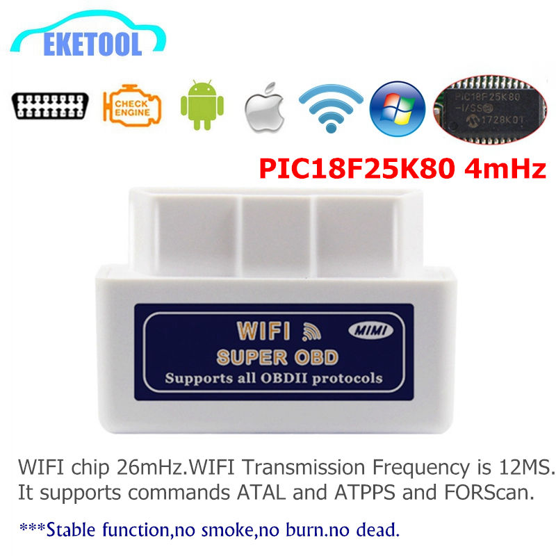 ELM327 WIFI V1.5 PIC18F25K80 4mHz Car Diagnostic Works Smart Phone Android/iOS ELM 327 Wi-Fi 12V Works Diesel No Burn/Smoke