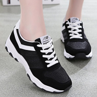 Woman Causal Sneakers Platform Lace Up Round Toe Shoes Women Hard Wearing Spell Color Breathable
