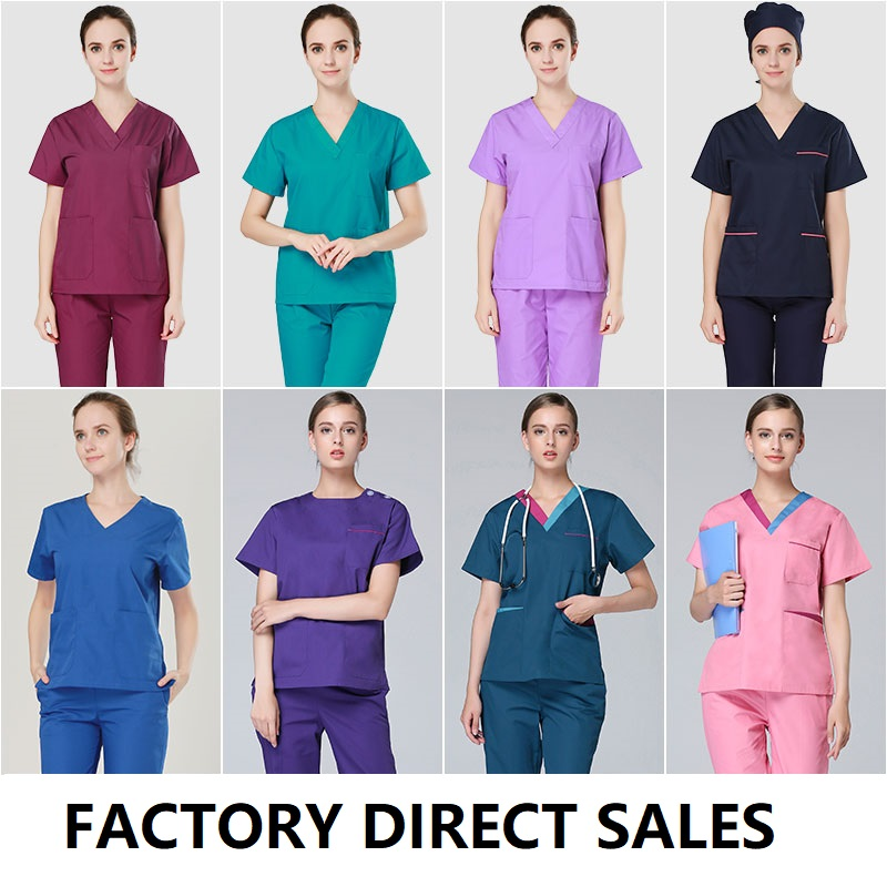 Summer Hospital Doctor Short Sleevve Scub Suits Women Assorted Color Pure Cotton Mecial Scub Suits